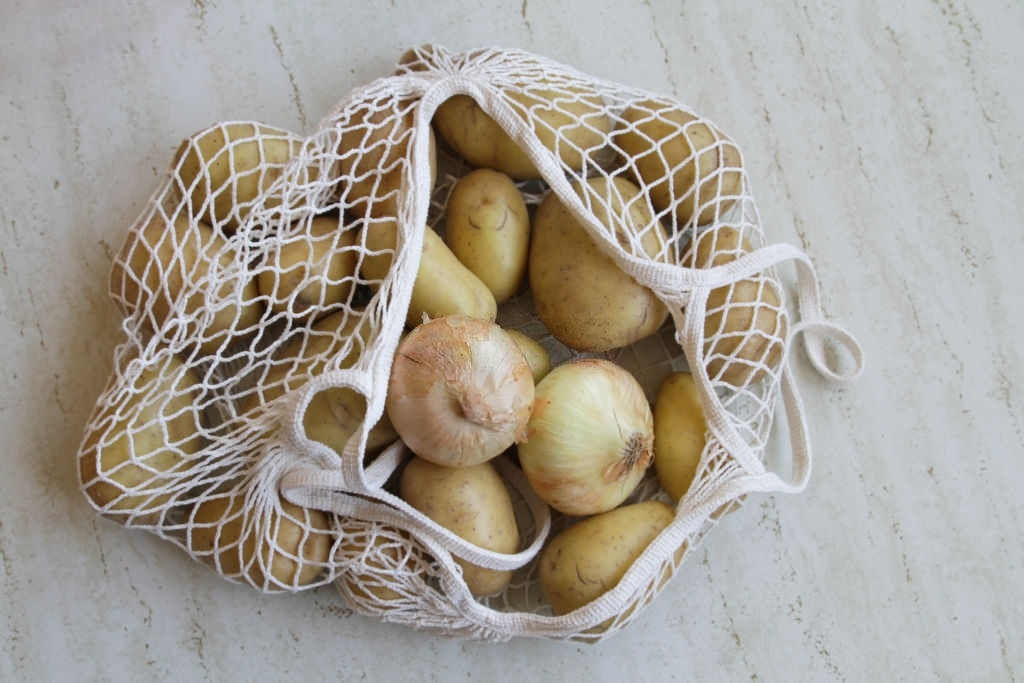 Onions and Potatoes in Reusable Shopping Bag