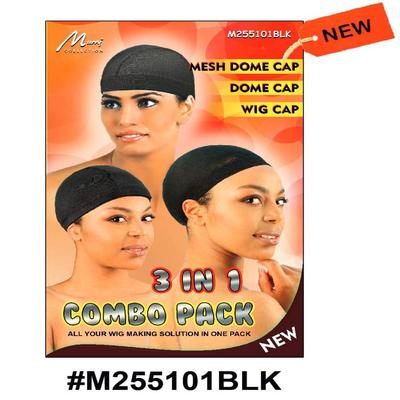 Murry 3 In 1 Combo (mesh Dome Cap, Dome Cap, Wig Cap) Black - M255101blk