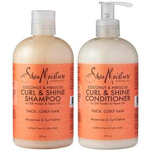 Shea Moisture Coconut & Hibiscus Curl & Shine Shampoo & Conditioner Duo Pack