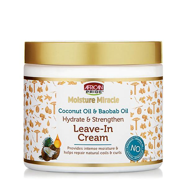 African Pride Moisture Miracle Coconut Oil & Baobab Oil Leave-in Cream