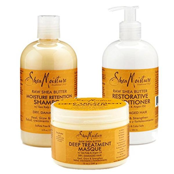 Shea Moisture Raw Shea Butter Moisture Retention Shampoo + Conditioner + Masque 13oz,13oz,12oz