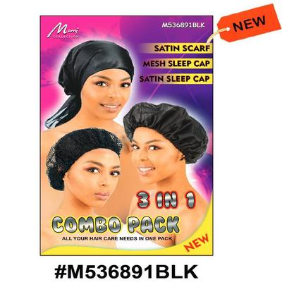 Murry 3 In 1 Combo (satin Scarf, Mesh Sleep Cap, Satin Sleep Cap) Black - M536891blk