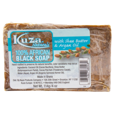 Kuza 100% African Black Soap With Shea Butter & Argan Oil