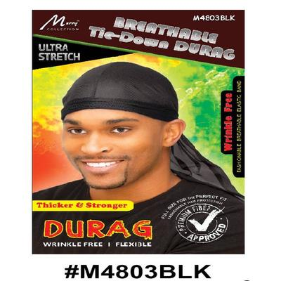 Murry Breathable Tie Down Durag Black - M4803blk