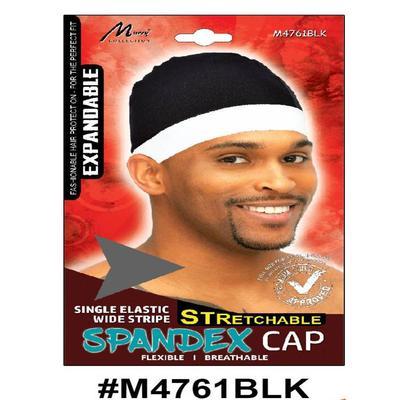 Murry Single Elastic Wide Stripe Spandex Cap Black - M4761blk