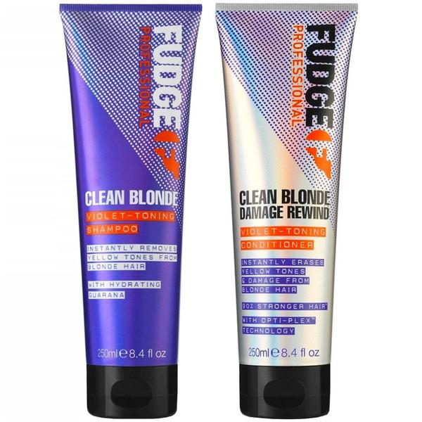 Fudge Clean Blonde Damage Rewind Violet Toning Shampoo & Conditioner