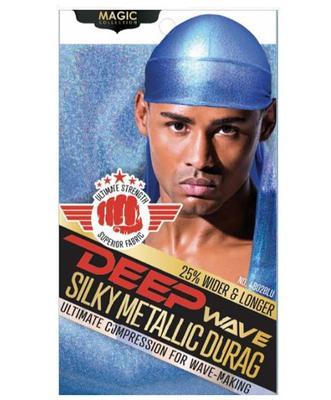Magic Collection Deep Wave Silky Metallic Durag Blue - 4802blu