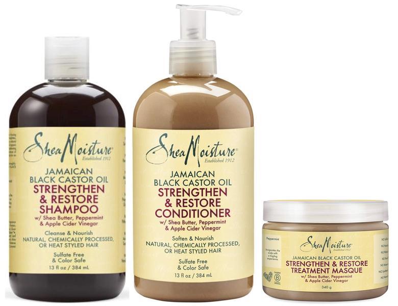 Shea Moisture Jamaican Black Castor Oil Strengthen, Grow And Restore Shampoo + Conditioner + Leave In Conditioner 13oz, 13oz, 11oz