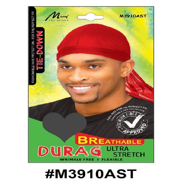 Murry Tie Down Breathable Durag Assorted Color - M3910ast
