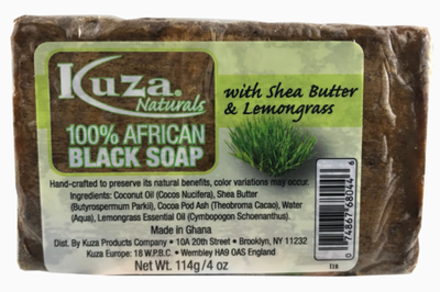 Kuza Naturals 100% African Black Soap With Shea Butter & Lemongrass