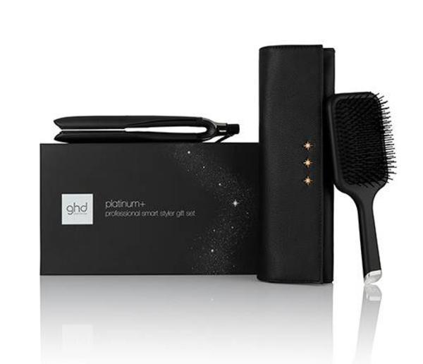 Ghd Platinum + Hair Straightener Gift Set With Paddle Brush & Chic Style Bag (black)