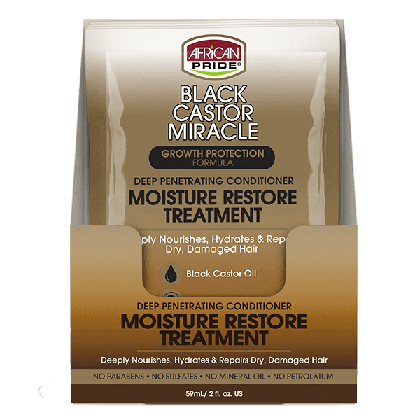 African Pride Black Castor Miracle Deep Penetrating Conditioner Moisture Restore Treatment