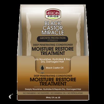 African Pride Black Castor Miracle Deep Penetrating Conditioner Moisture Restore Treatment