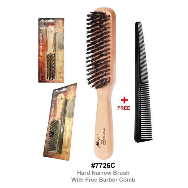 Magic Collection Hard Narrow Brush With Free Barber Comb 7726c