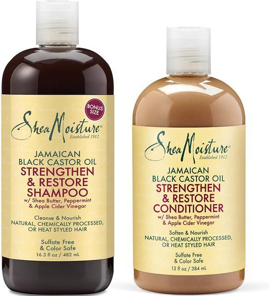 Shea Moisture Jamaican Black Castor Oil Strengthen, Grow & Restore Shampoo & Conditioner Duo Pack(13oz-16oz)
